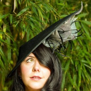 Black Sinamay Teardrop Hat with Lilies and Feathers - Katy 2 -sq
