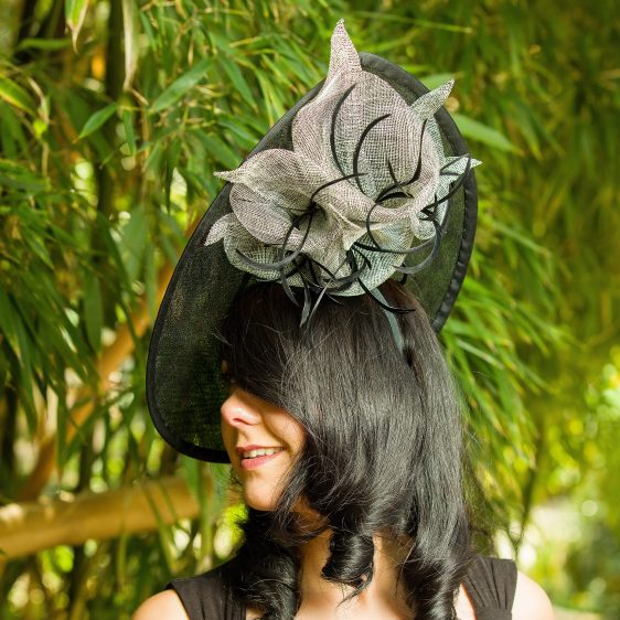 Black Sinamay Teardrop Hat with Lilies and Feathers - Katy -sq