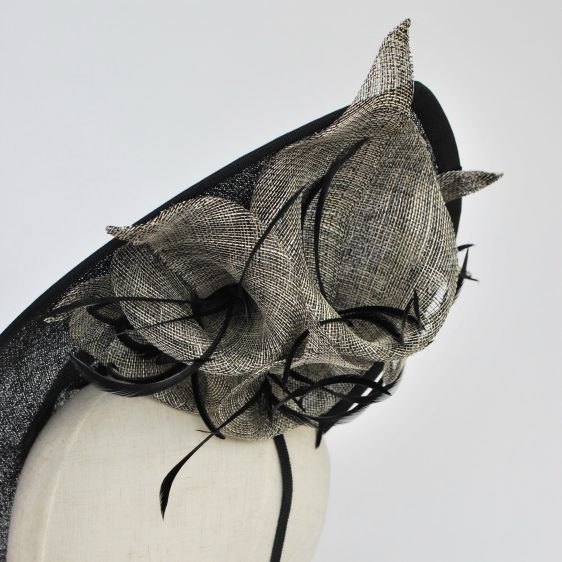 Black Sinamay Teardrop Hat with Lilies and Feathers - detail 2