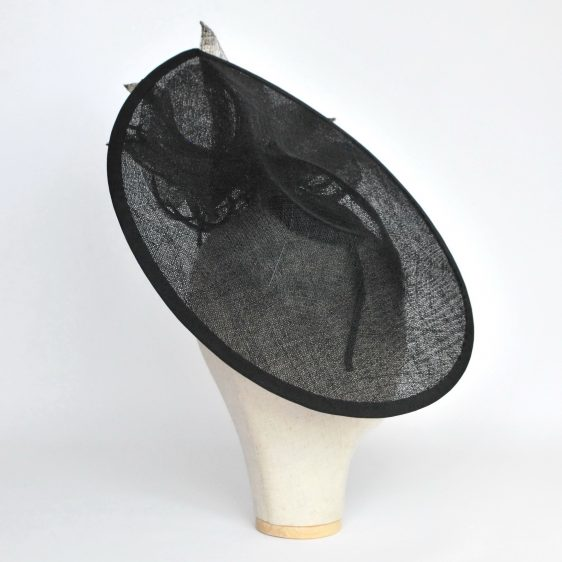 Black Sinamay Teardrop Hat with Lilies and Feathers - other back