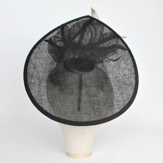 Black Sinamay Teardrop Hat with Lilies and Feathers - other side