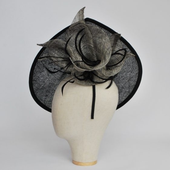 Black Sinamay Teardrop Hat with Lilies and Feathers - side 2