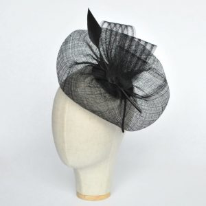 Black Sinamay Saucer Fascinator with Arrow Feather and Crinoline - angle