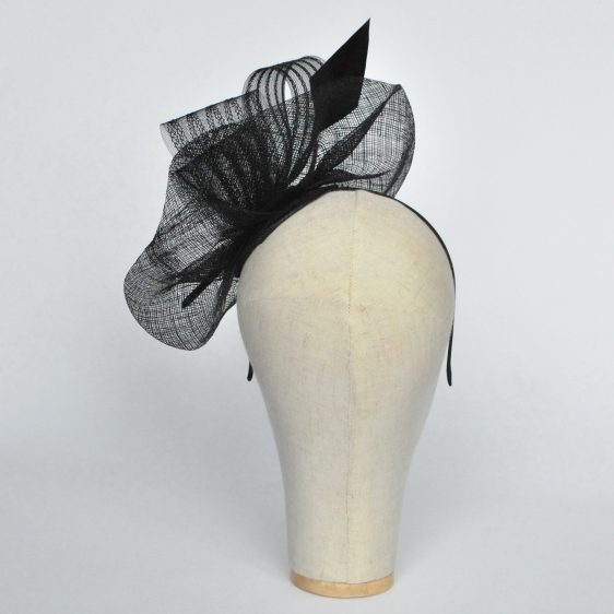 Black Sinamay Saucer Fascinator with Arrow Feather and Crinoline - back
