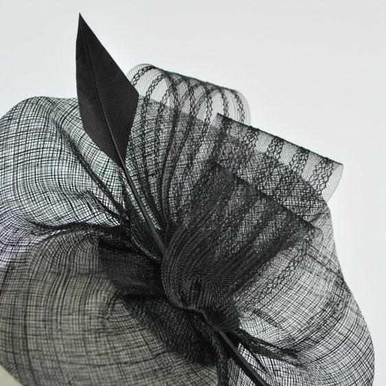 Black Sinamay Saucer Fascinator with Arrow Feather and Crinoline - detail 2