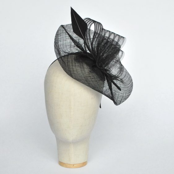 Black Sinamay Saucer Fascinator with Arrow Feather and Crinoline - front