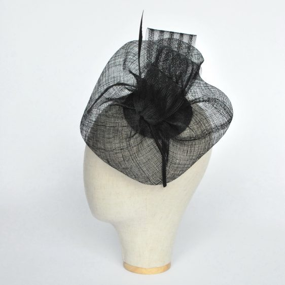 Black Sinamay Saucer Fascinator with Arrow Feather and Crinoline - side