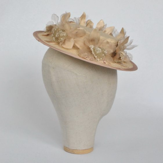 Cream Paper Straw Boater Hat with Orchid Flowers - back