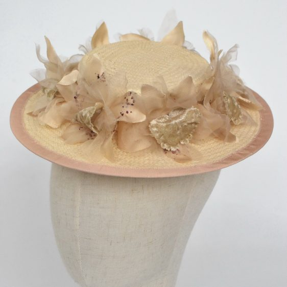 Cream Paper Straw Boater Hat with Orchid Flowers - detail 2