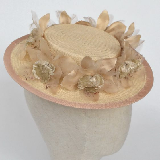 Cream Paper Straw Boater Hat with Orchid Flowers - detail