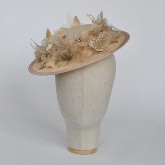Cream Paper Straw Boater Hat with Orchid Flowers - front