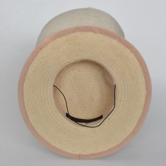 Cream Paper Straw Boater Hat with Orchid Flowers - inside