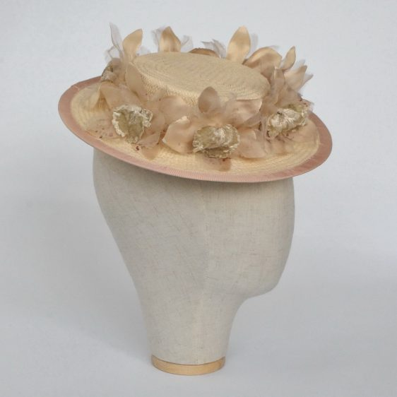 Cream Paper Straw Boater Hat with Orchid Flowers - side