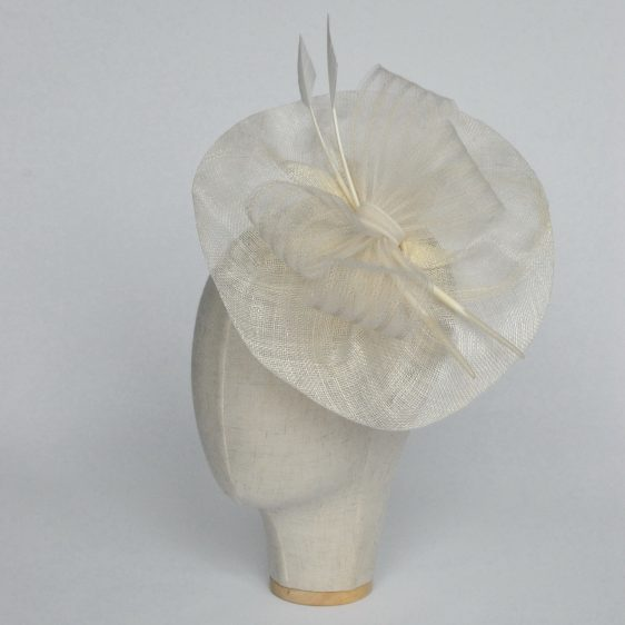 Ivory Sinamay Saucer Fascinator with Arrow Feathers and Crinoline - angle