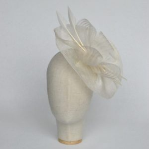 Ivory Sinamay Saucer Fascinator with Arrow Feathers and Crinoline - front