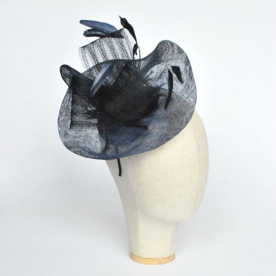Navy Blue Sinamay Saucer Fascinator with Coque Feathers and Crinoline - angle