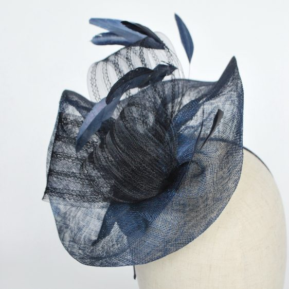 Navy Blue Sinamay Saucer Fascinator with Coque Feathers and Crinoline - detail 2