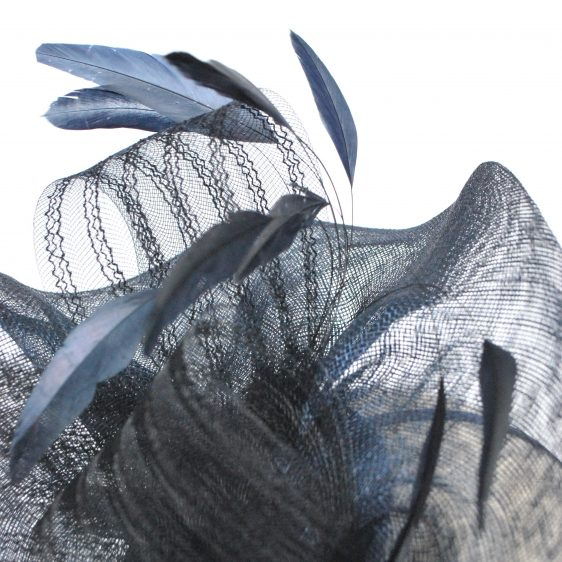 Navy Blue Sinamay Saucer Fascinator with Coque Feathers and Crinoline - detail 3