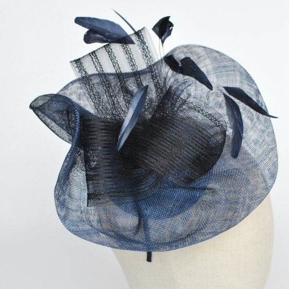 Navy Blue Sinamay Saucer Fascinator with Coque Feathers and Crinoline - detail