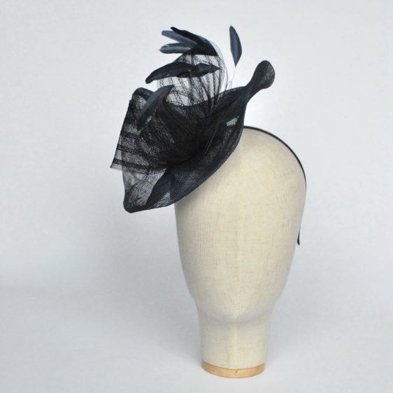 Navy Blue Sinamay Saucer Fascinator with Coque Feathers and Crinoline - front