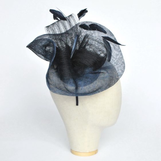 Navy Blue Sinamay Saucer Fascinator with Coque Feathers and Crinoline - side