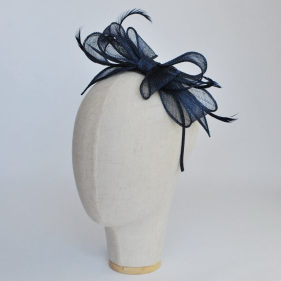 Navy Bow Fascinator with Biot Feathers - angle