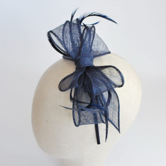 Navy Bow Fascinator with Biot Feathers - detail 2