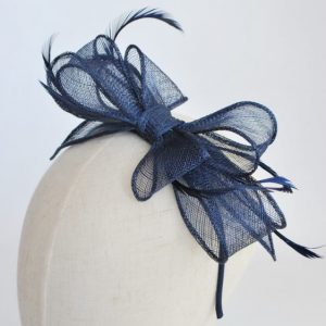 Navy Bow Fascinator with Biot Feathers - detail