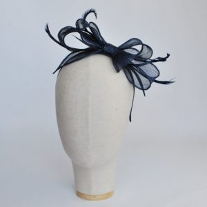 Navy Bow Fascinator with Biot Feathers - front