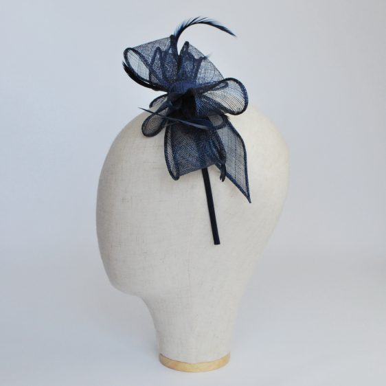 Navy Bow Fascinator with Biot Feathers - side