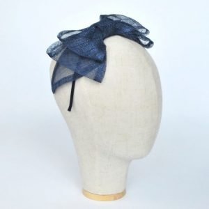 Navy Blue Large Sinamay Bow Fascinator - angle