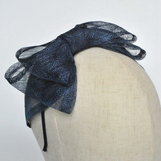 Navy Blue Large Sinamay Bow Fascinator - detail