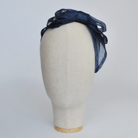 Navy Blue Large Sinamay Bow Fascinator - front left