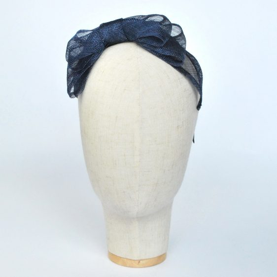 Navy Blue Large Sinamay Bow Fascinator - front