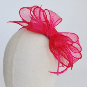 Pink Bow Fascinator with Biot Feathers - detail 2