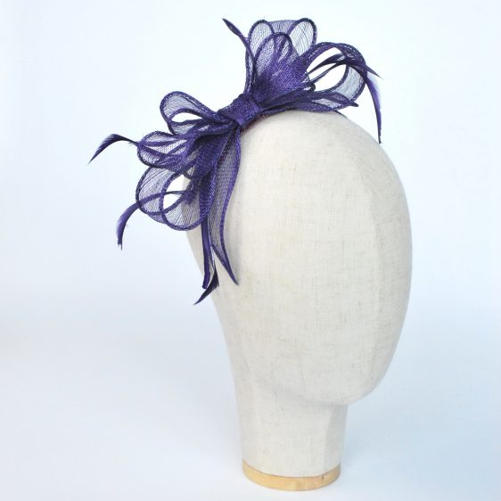 Purple Bow Fascinator with Biot Feathers - angle