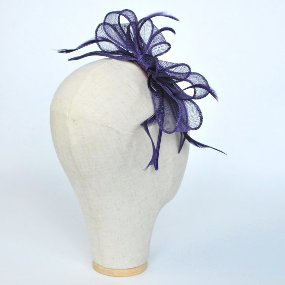 Purple Bow Fascinator with Biot Feathers - back