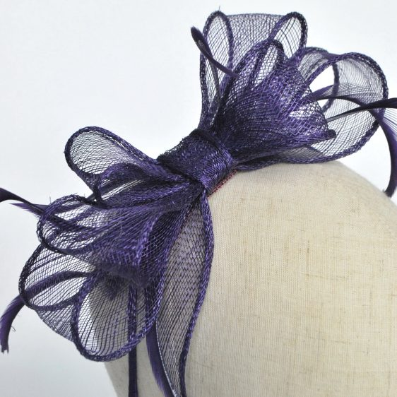 Purple Bow Fascinator with Biot Feathers - detail 2