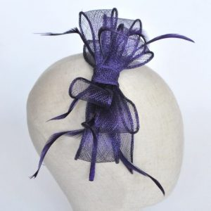 Purple Bow Fascinator with Biot Feathers - detail