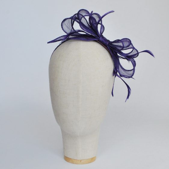 Purple Bow Fascinator with Biot Feathers - front left