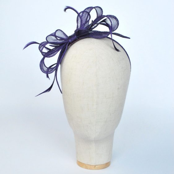 Purple Bow Fascinator with Biot Feathers - front
