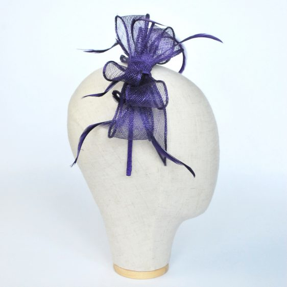 Purple Bow Fascinator with Biot Feathers - side