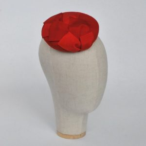 Red Felt Mini Button Hat with Two Tone Ribbon Trim - angle