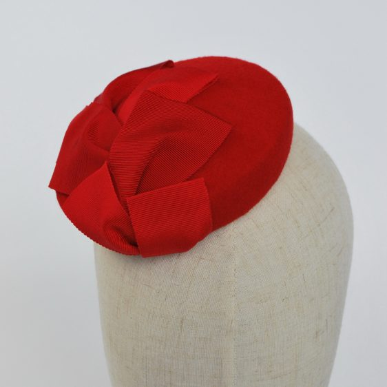 Red Felt Mini Button Hat with Two Tone Ribbon Trim - detail 2