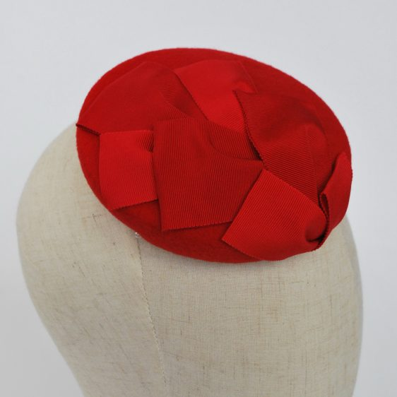 Red Felt Mini Button Hat with Two Tone Ribbon Trim - detail 3