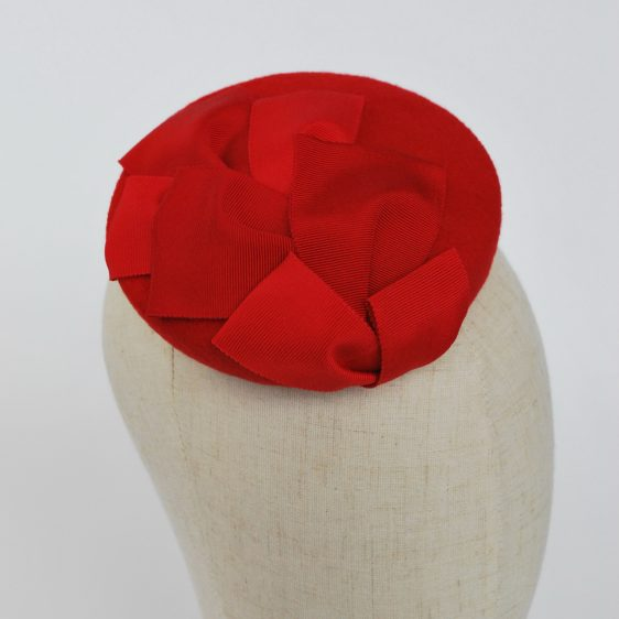 Red Felt Mini Button Hat with Two Tone Ribbon Trim - detail
