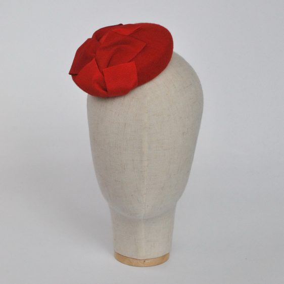 Red Felt Mini Button Hat with Two Tone Ribbon Trim - front