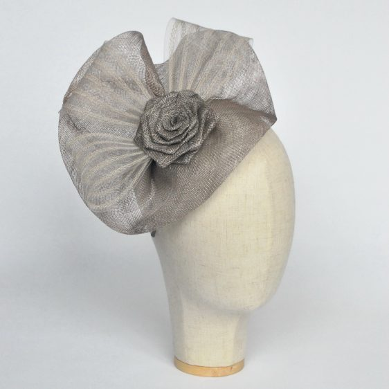 Silver Grey Sinamay Saucer Fascinator with Crinoline and Rose Flower - angle