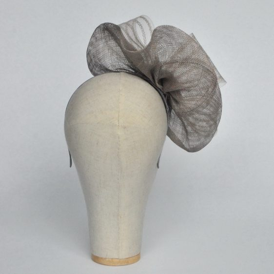 Silver Grey Sinamay Saucer Fascinator with Crinoline and Rose Flower - back