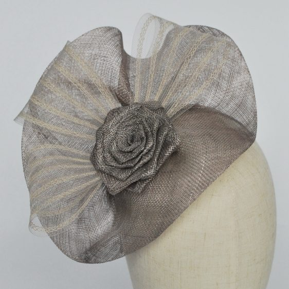 Silver Grey Sinamay Saucer Fascinator with Crinoline and Rose Flower - detail 2